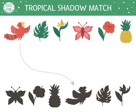 Tropical shadow matching activity for children. Preschool jungle puzzle. Cute exotic educational riddle. Find the correct tropic symbol silhouette printable worksheet. Simple summer game for kids