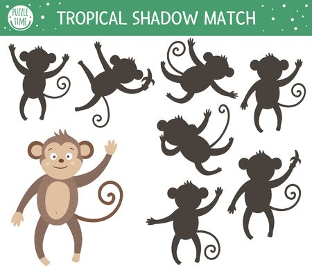Illustration pour Tropical shadow matching activity for children. Preschool jungle puzzle. Cute exotic educational riddle. Find the correct monkey silhouette printable worksheet. Simple summer game for kids  - image libre de droit