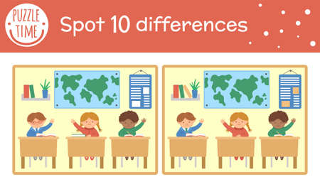Illustration pour Back to school find differences game for children. Educational activity with schoolchildren sitting in classroom. Printable worksheet with cute funny smiling characters. Geography lesson scene - image libre de droit