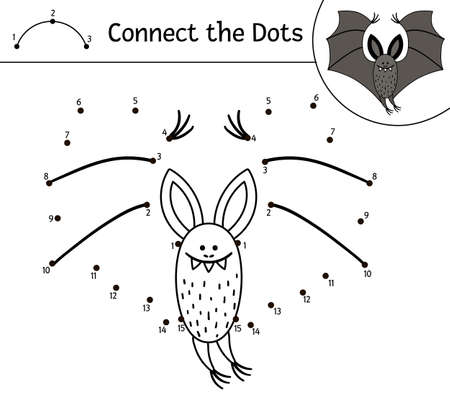 Illustration pour Vector Halloween dot-to-dot and color activity with cute bat. Autumn holiday connect the dots game. Funny coloring page for kids with scary animal. - image libre de droit