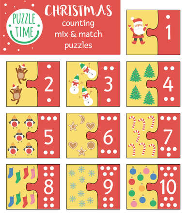 Illustration for Christmas mix and match puzzle with traditional holiday symbols. Winter matching math activity for preschool children. Educational New Year printable counting game for kids - Royalty Free Image