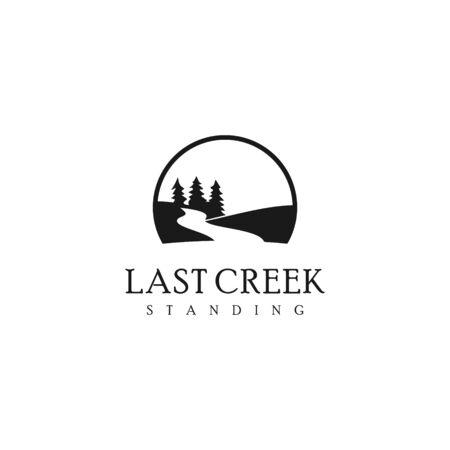 Illustration pour simple nature logo black color vintage. creek with pine tree and river vector for landscape graphic design template - image libre de droit