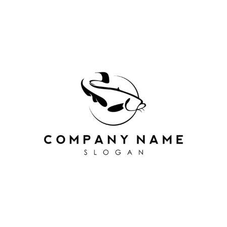 Ilustración de simple modern black snake head fish logo icon design - Imagen libre de derechos