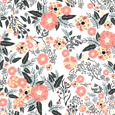 Foto de Abstract flowers seamless pattern. Colorful vector background - Imagen libre de derechos