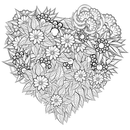 Vector heart-shaped pattern for coloring book. Ethnic retro ...