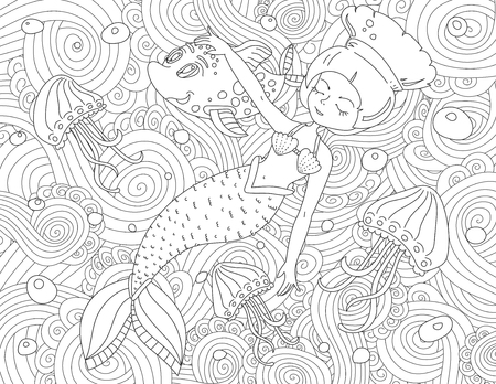 Illustration for Coloring book page for adult and kids. - Royalty Free Image
