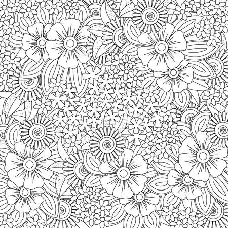 Illustration pour Vector pattern for coloring book. Ethnic retro design style with floral elements,Black square shaped line art - image libre de droit
