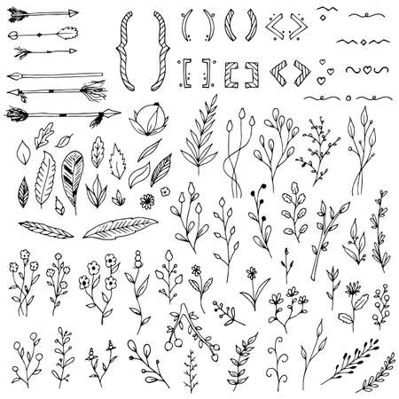 Illustration pour Set of plants, branches, floral elements, arrows, braces and parentheses. Vector illustrations. Isolated objects on white. Hand-drawn style. - image libre de droit