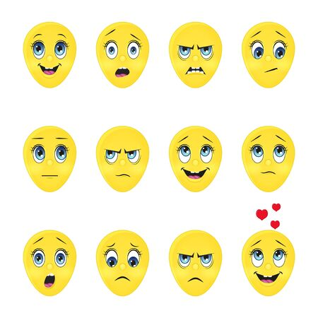 Illustration for Collection of cute emoji. Cartoon style. Vector illustration. Isolated on white. Object for communication, web. - Royalty Free Image