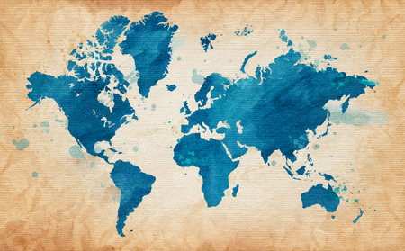 Illustrated map of the world with a textured background and watercolor spots. Grunge background. vector