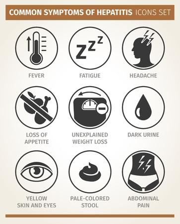 Vector  infographic. symptoms of hepatitis. icon set