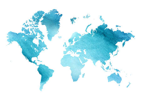 Illustration for Illustrated blue watercolor map of the world with a isolated bac - Royalty Free Image