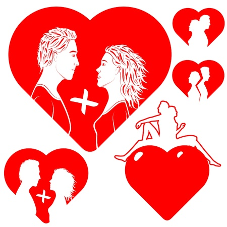 Stylized hearts, with a silhouette of a couple in love.  Illustration is easily edited.   Isolated on white background.   This is vector illustration eps8.