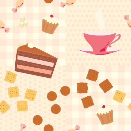 seamless pattern with a cup of tea, cake, candies  and cookies