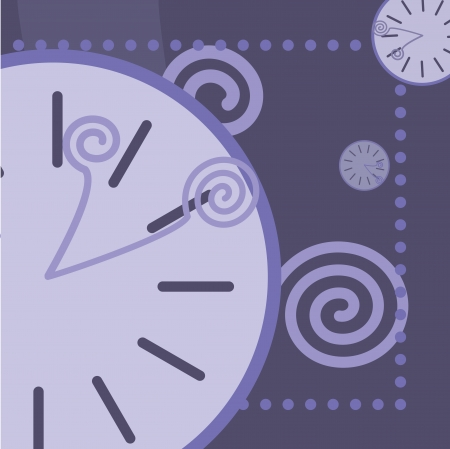 blue background with round clock and arrows