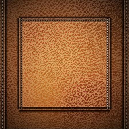 Illustration pour Leather background with label and stitches  - image libre de droit