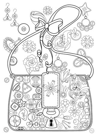 Adult coloring book. Stress relieving. Bag with buttons and flowers.