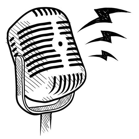 Doodle style retro microphone radio or communication illustration