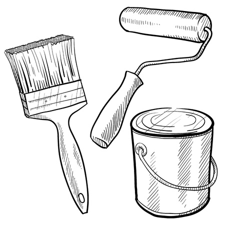 Illustration pour Doodle style painting equipment including paint can, roller, and brush - image libre de droit