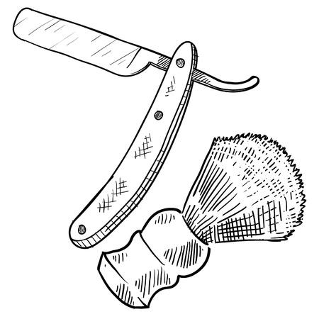 Doodle style retro straight razor and shaving brush illustration