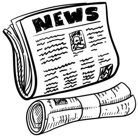 Doodle style newspaper illustration in vector format  Includes folded and rolled paper with headline