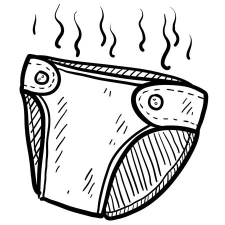 Illustration pour Doodle style smelly diaper illustration in vector format  - image libre de droit