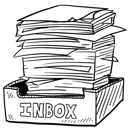 Doodle style inbox image with a huge pile of documents to be processed, indicating business, work, or stress