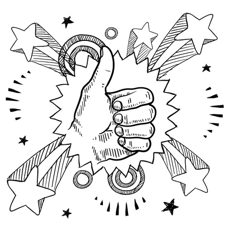 Doodle style sketch of a thumbs up sign with pop explosion background in 1960s or 1970s style in illustration