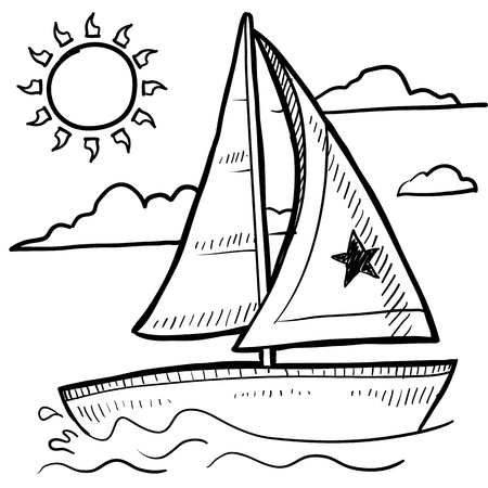 Doodle style sketch of a sailboat vacation in illustration