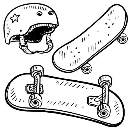Doodle style sketch of skateboard equipment, including board and helmet, in illustration