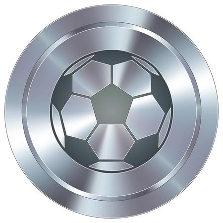 Ilustración de Soccer sport icon on round stainless steel modern industrial button - Imagen libre de derechos