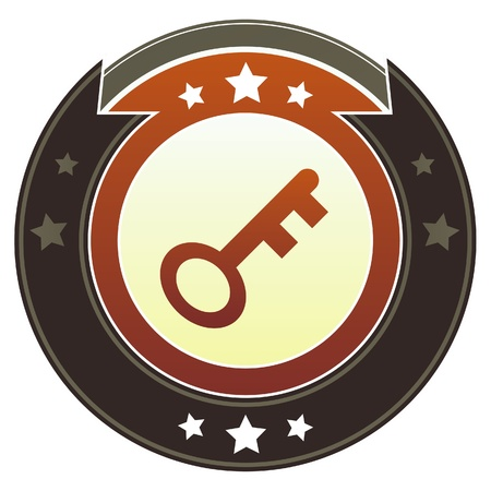 Skeleton key or password icon on round red and brown imperial vector button with star accents suitable for use on website, in print and promotional materials, and for advertising