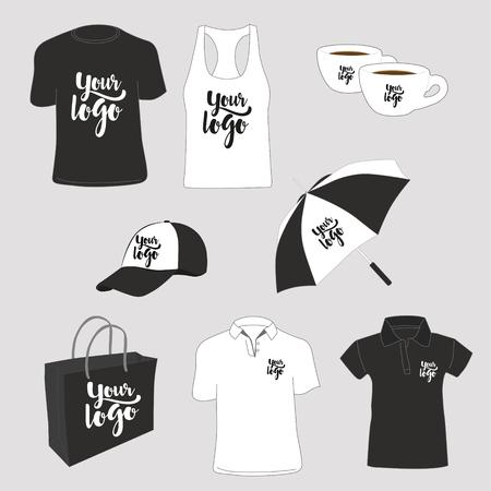 Ilustración de Promotional items. T-shirts, polo shirt, tank top, paper bag, cups, cap and umbrella. Vector illustration. - Imagen libre de derechos