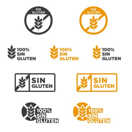 Gluten free icon set  Written in Spanish  Vector illustration