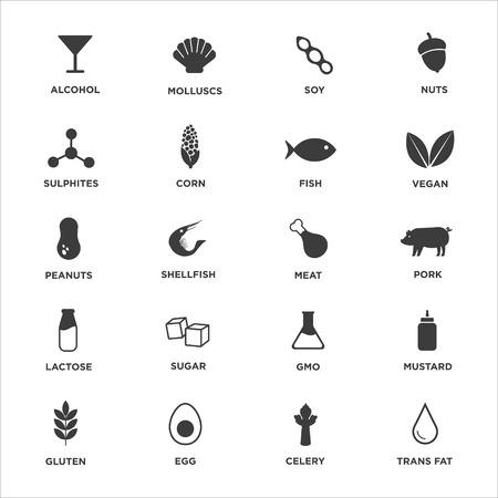 Illustration pour Allergen icon set. Vector illustration. - image libre de droit