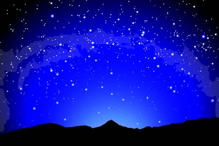 Illustration pour Mountain landscape, dark night silhouette of the earth landscape against the background of space. Earth and the milky way galaxy - image libre de droit