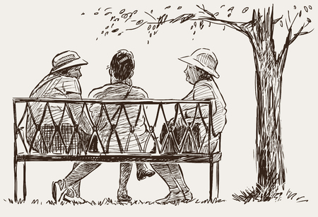 Vector Sketch Of The Old Women On The Park Bench Royalty Free