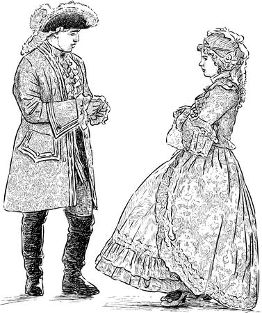 Illustration pour Sketch of the couple in the historical costumes - image libre de droit