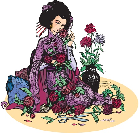 Beautiful japanese woman with flowers (geisha and chrysanthemums)