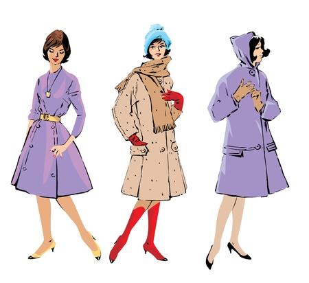 Ilustración de Set of elegant women - retro style fashion models  - Imagen libre de derechos
