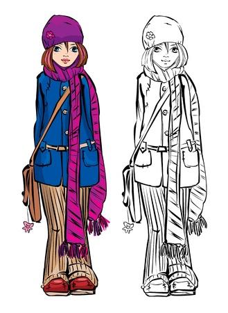 Winter cute girl dressing stripped skarf