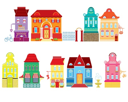 Illustration for Set of Cartoons fairy tale drawing houses isolated on white background  Series separate lodge  - Royalty Free Image