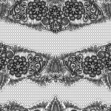 Ilustración de Black Lace seamless pattern with flowers on white background  - fabric design - Imagen libre de derechos