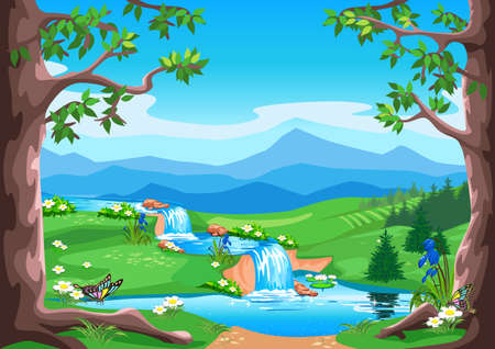 Illustration pour Vector horizontal background fairy tale summer landscape with forest, waterfall, valley and mountains in cartoon style. - image libre de droit