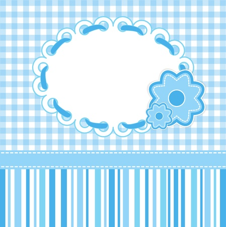 Illustration for Baby card with blue stripes and flowers.  - Royalty Free Image
