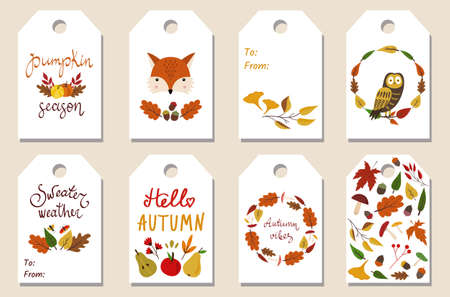 Illustration pour Set of 8 autumn fall gift tags. Leaves, fox, owl, pumpkin. Lettering and wreaths. Isolated elements. Vector illustration. Printable seasonal labels templates. - image libre de droit