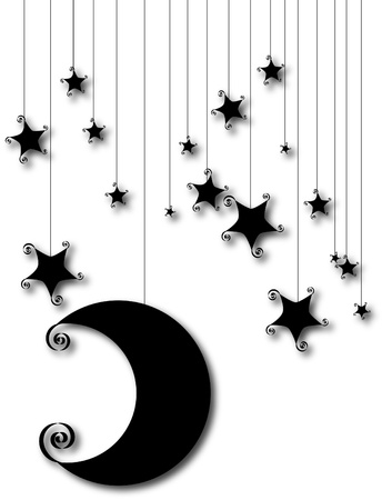 Lovely moon and stars silhouette are isolated on white