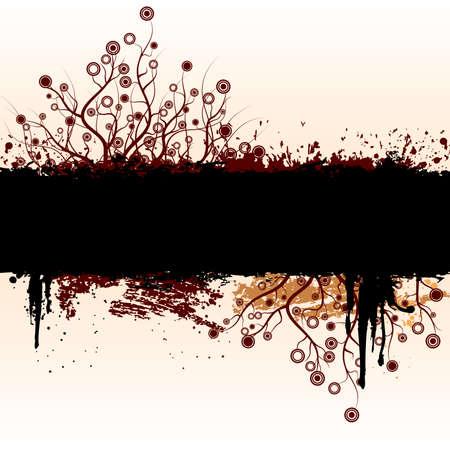 Illustration pour Vector grunge floral background with floral elements. - image libre de droit