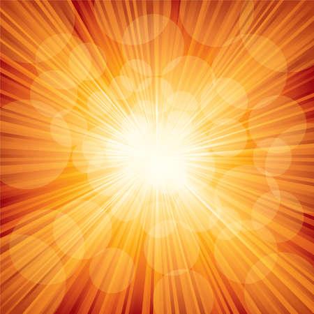 Illustration for Vector illustration of orange sunbeam. - Royalty Free Image
