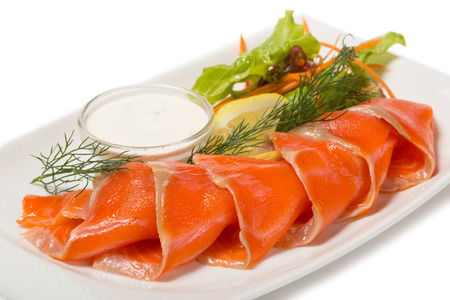 Salted sea trout with the flavor of orange, lemon and lettuce.